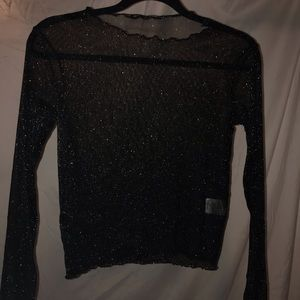 Brandy Melville sheer black and silver long sleeve